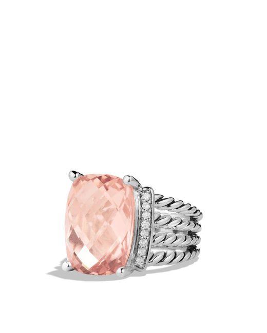 David Yurman   Metallic Wheaton Ring With Morganite And Diamonds   Lyst