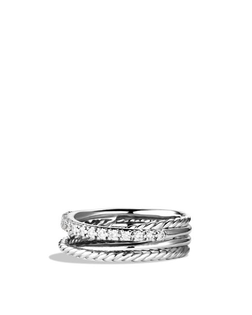 David Yurman | Metallic Crossover Ring With Diamonds | Lyst