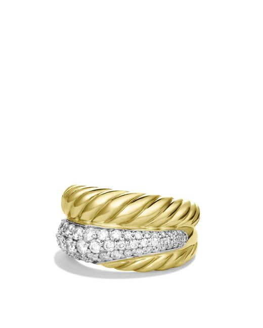 David Yurman | Yellow Crossover Large Ring With Diamonds | Lyst