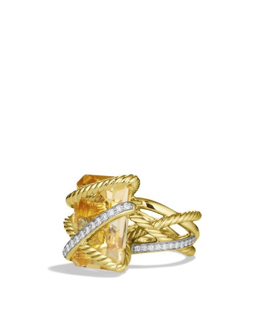 David Yurman | Yellow Cable Wrap Ring With Champagne Citrine & Diamonds In Gold | Lyst