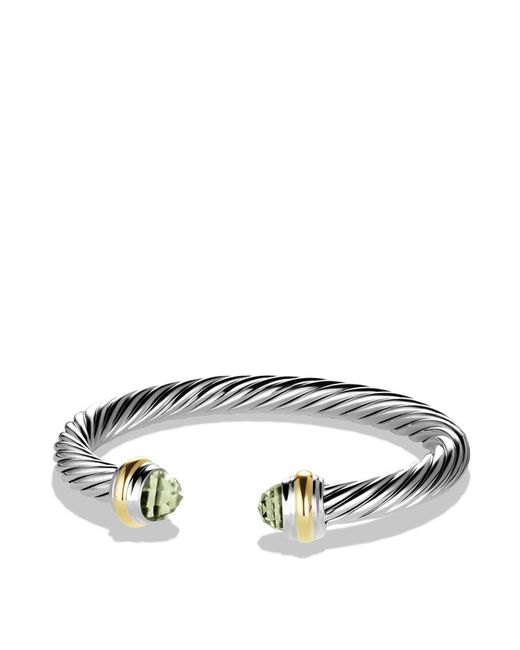 David Yurman | Metallic Cable Classics Bracelet With Prasiolite And Gold | Lyst