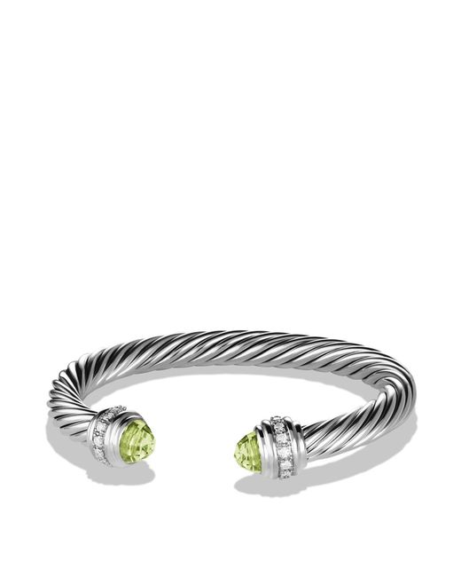 David Yurman | Metallic Cable Classics Bracelet With Prasiolite & Diamonds | Lyst
