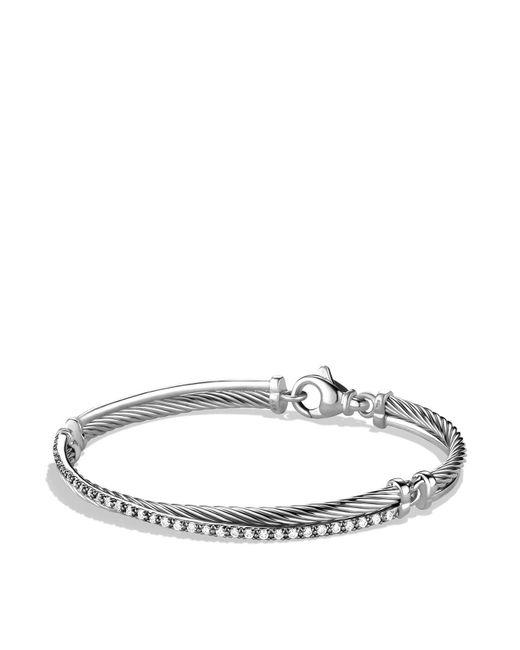 David Yurman | Metallic Crossover Bracelet With Diamonds | Lyst