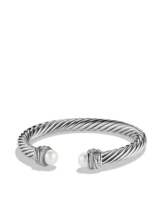 David Yurman | Metallic Crossovertm Bracelet With Pearls And Diamonds | Lyst