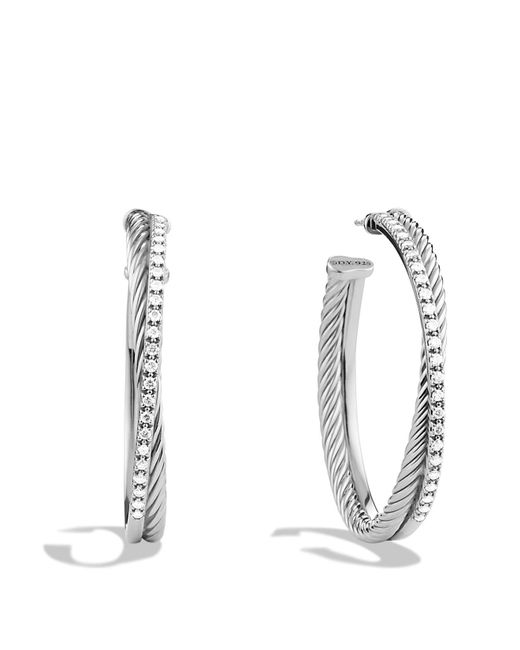 David Yurman | Metallic Crossover Extra Large Hoop Earrings With Diamonds | Lyst