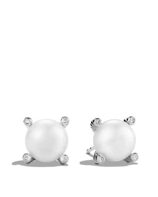 David Yurman | Metallic Pearl Earrings With Diamonds | Lyst