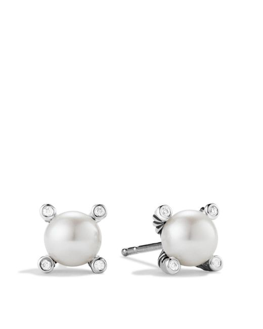 David Yurman | Metallic Small Pearl Earrings With Diamonds | Lyst