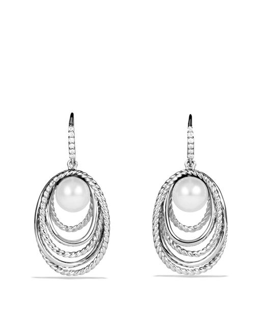David Yurman | Metallic Pearl Crossover Drop Earrings With Diamonds | Lyst