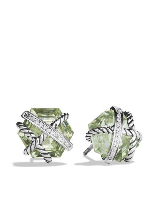David Yurman | Metallic Cable Wrap Earrings With Prasiolite And Diamonds | Lyst