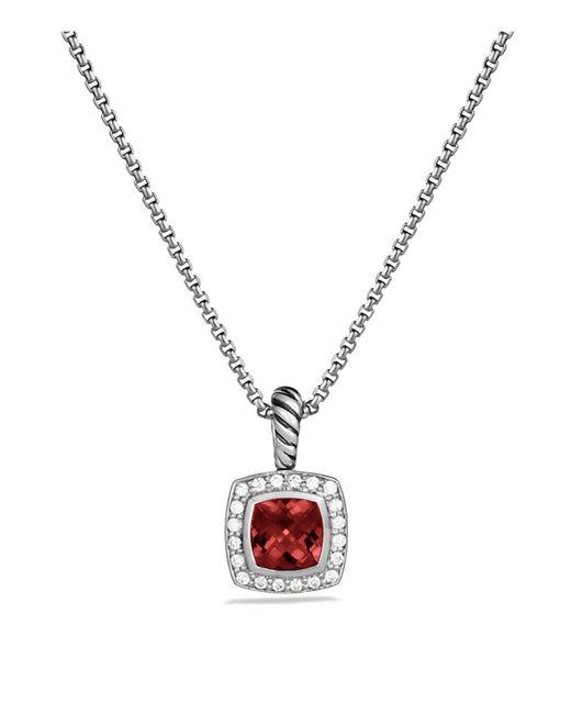 David Yurman   Metallic Petite Albion Pendant With Pyrope Garnet And Diamonds On Chain   Lyst