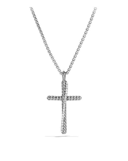 David Yurman | Metallic Crossover Cross With Diamonds On Chain | Lyst