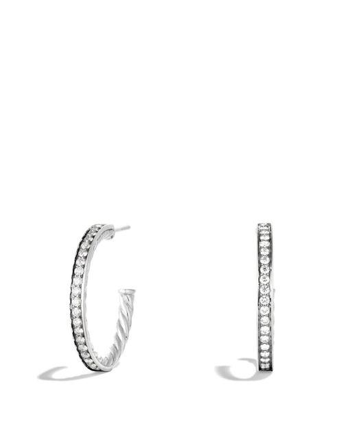David Yurman | Metallic Sculpted Cable Large Hoop Earrings With Diamonds | Lyst