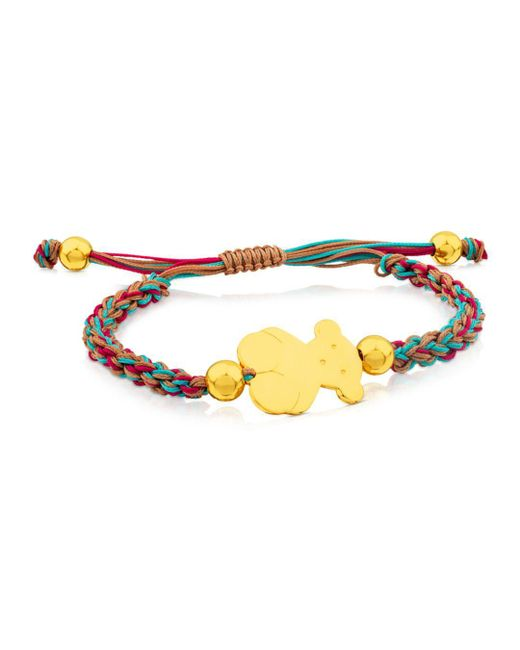 Tous - Metallic Bear Charm Knotted Cord Bracelet - Lyst