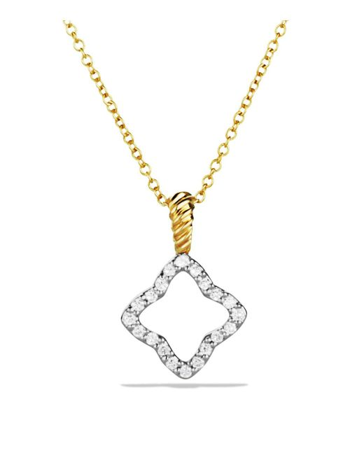 David Yurman | Metallic Cable Collectibles Quatrefoil Pendant With Diamonds In Gold On Chain | Lyst