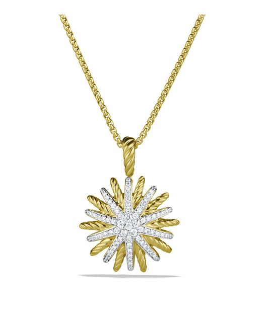 David Yurman | Yellow Starburst Small Pendant With Diamonds In Gold On Chain | Lyst