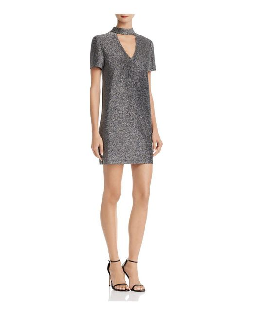 Aqua   Metallic Shine Choker Dress   Lyst