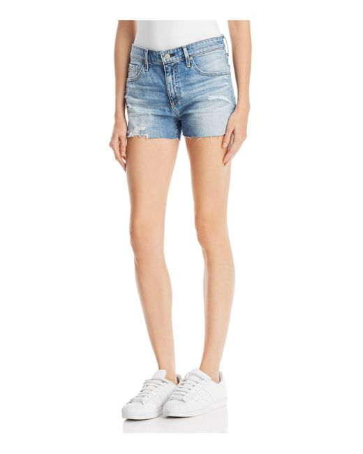 AG Jeans - Blue Bryn Denim Shorts In 16 Years Indigo Deluge Destructed - Lyst