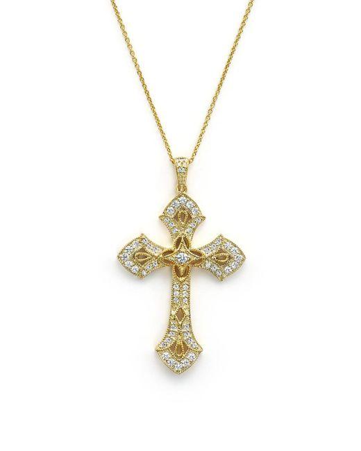 Bloomingdale's - Metallic Diamond Cross Pendant Necklace In 14k Yellow Gold, .50 Ct. T.w. - Lyst
