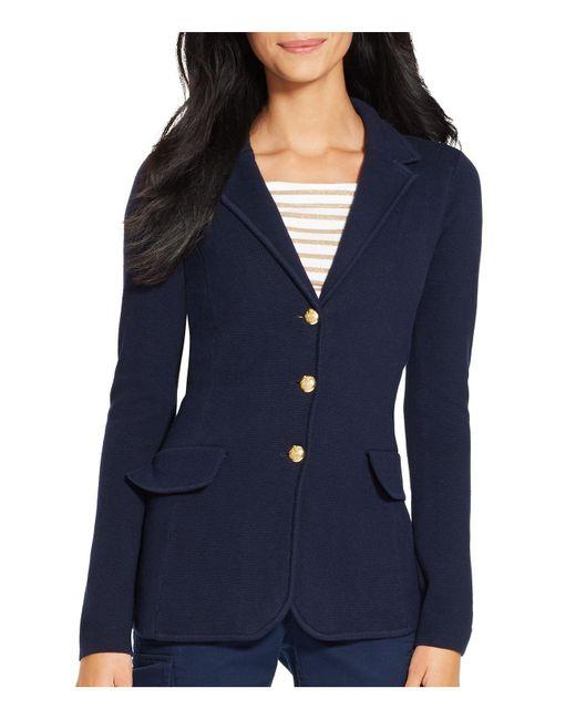 Ralph Lauren   Blue Lauren Knit Sweater Blazer   Lyst