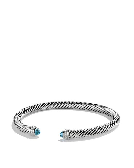 David Yurman | Cable Classics Bracelet With Blue Topaz & Diamonds | Lyst