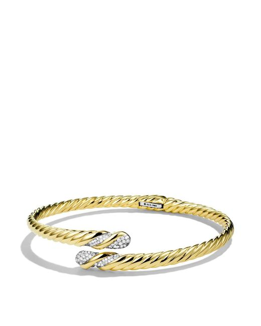 David Yurman | Yellow Willow Open Single-row Bracelet With Diamonds In Gold | Lyst