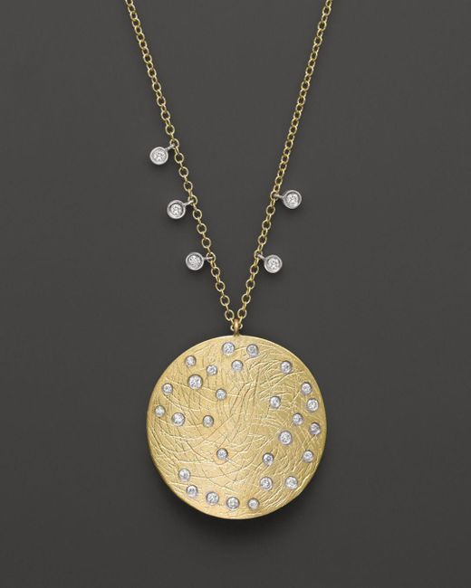 Meira T - Multicolor 14k Yellow & White Gold Large Disc Necklace - Lyst