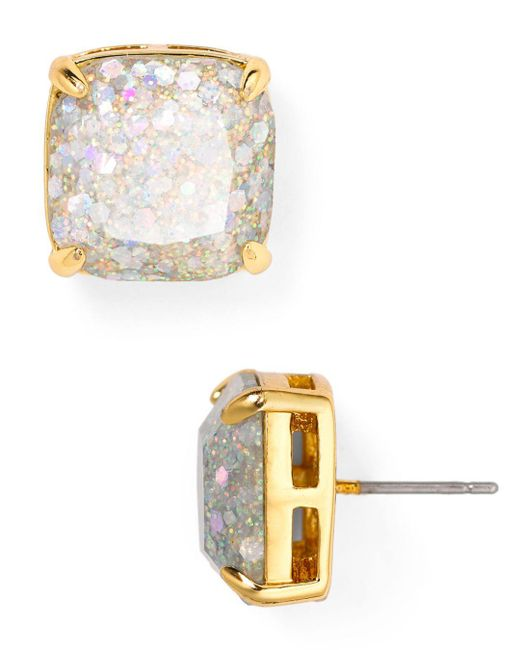 Kate Spade - Metallic Small Square Glitter Stud Earrings - Lyst