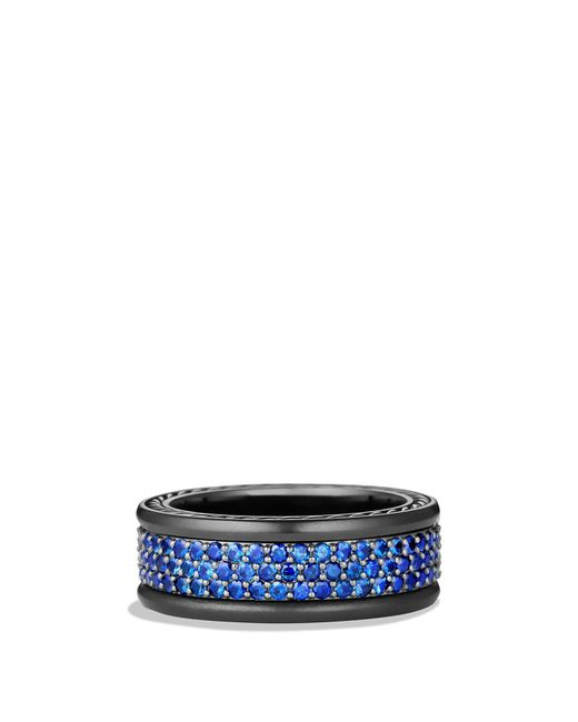 David Yurman | Black Streamline Three-row Band Ring With Sapphires | Lyst