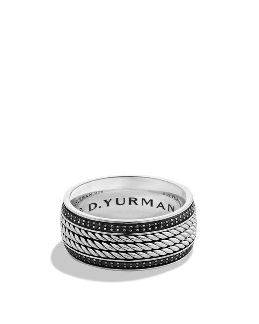 David Yurman | Metallic Maritime Rope Band Ring With Black Diamonds for Men | Lyst
