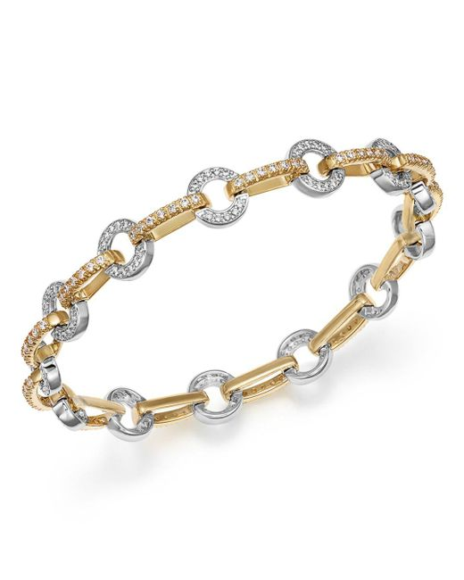 Bloomingdale's - Metallic Diamond Circle Link Bracelet In 14k Yellow And White Gold, 1.35 Ct. T.w. - Lyst