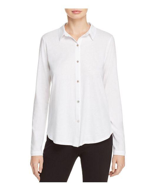 Eileen Fisher | White Classic Collar Shirt | Lyst