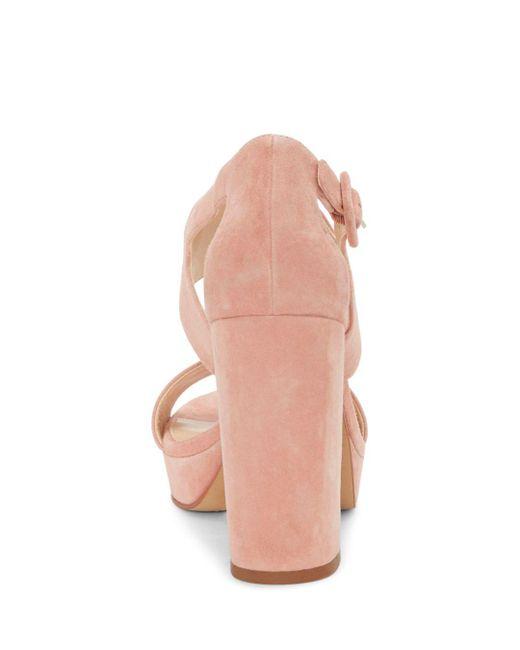 24392f509fc9 Lyst - Vince Camuto Jayvid Suede Platform Block Heel Sandals in Pink ...