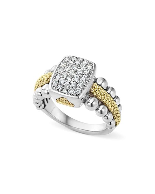 Lagos - Metallic Sterling Silver And 18k Gold Caviar Ring With Diamonds - Lyst