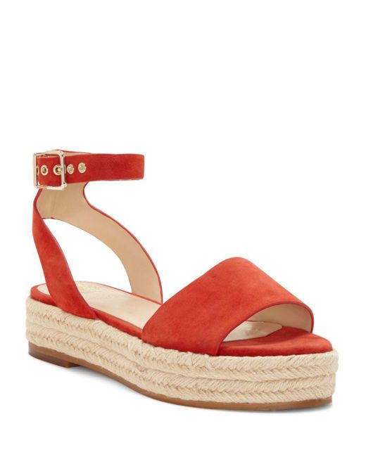 Vince Camuto - Red Women's Kathalia Leather Platform Espadrille Sandals - Lyst