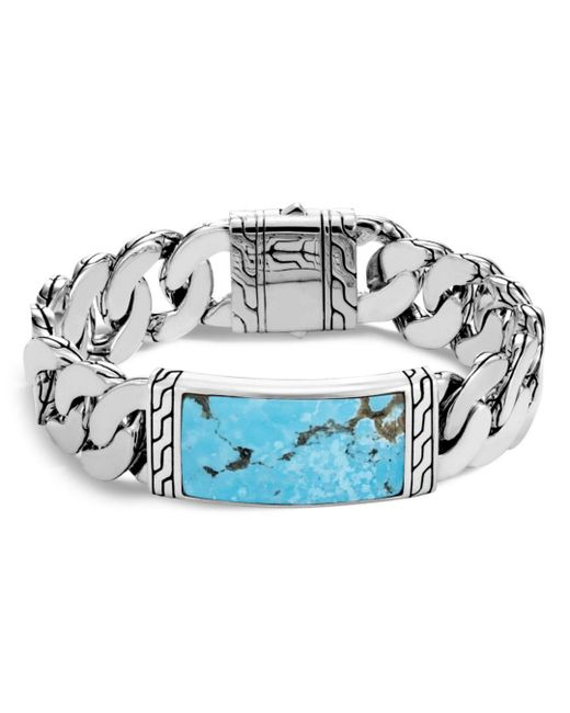 John Hardy - Metallic Sterling Silver Classic Chain Turquoise With Black Matrix Id Bracelet for Men - Lyst