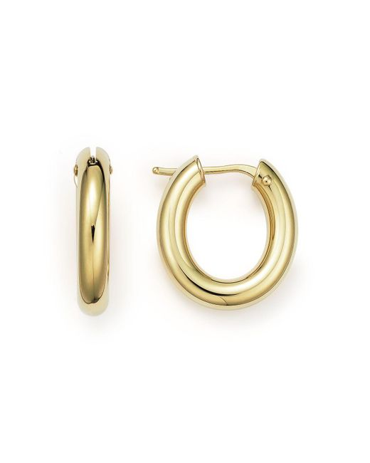 Roberto Coin | Metallic 18k Yellow Gold Oval Hoop Earrings | Lyst