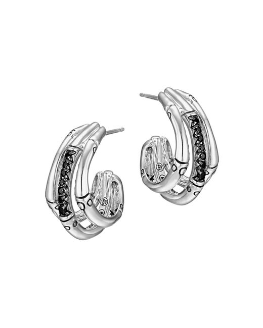 John Hardy | Metallic Bamboo Silver Lava Small Hoop Earrings With Black Sapphires | Lyst