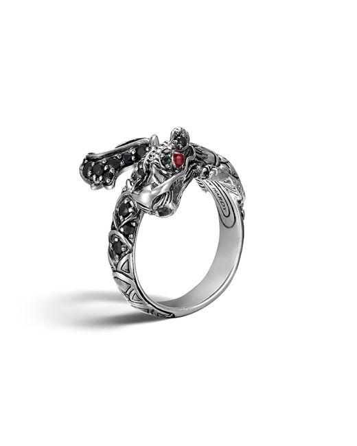 John Hardy | Metallic Naga Silver Lava Dragon Ring With Black Sapphires And Rubies | Lyst