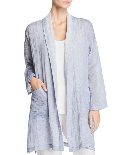 Eileen Fisher - Blue Shawl Collar Kimono Coat - Lyst