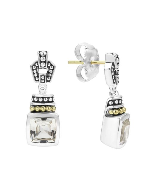 Lagos - 18k Gold And Sterling Silver Caviar Color Drop Earrings With White Topaz - Lyst