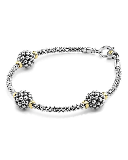 Lagos - Metallic Sterling Silver Bracelet With Caviar Stations - Lyst