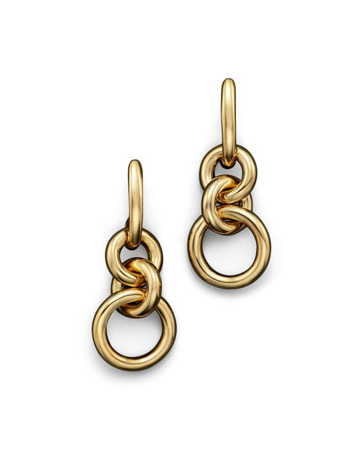 Roberto Coin | Metallic 18k Yellow Gold Three Circle Drop Earrings | Lyst