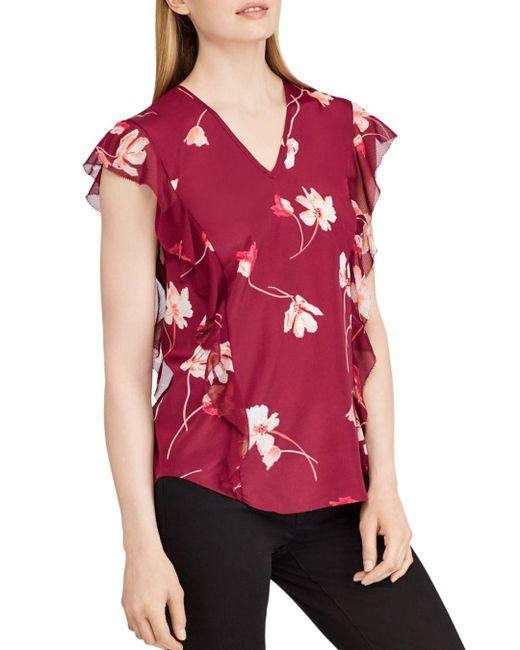 Ralph Lauren - Red Lauren Floral Crepe Top - Lyst