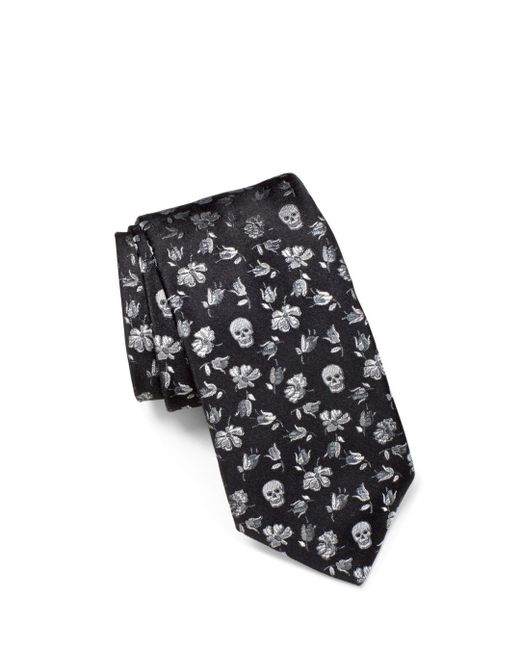 John Varvatos - Black Floral Skulls Classic Tie for Men - Lyst