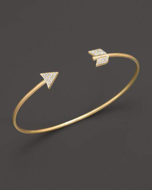 Meira T | Metallic 14k Yellow Gold Arrow Bangle Bracelet | Lyst