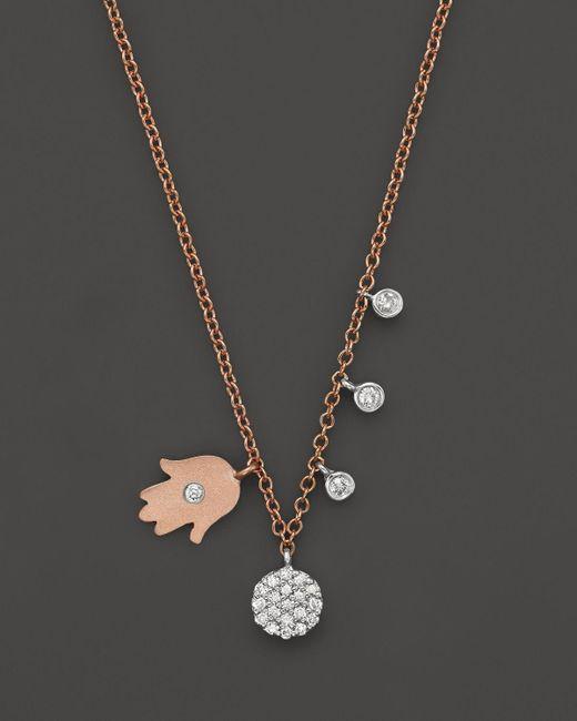 "Meira T | Multicolor 14k Rose & White Gold Hamsa Disc Diamond Necklace, 16"" | Lyst"