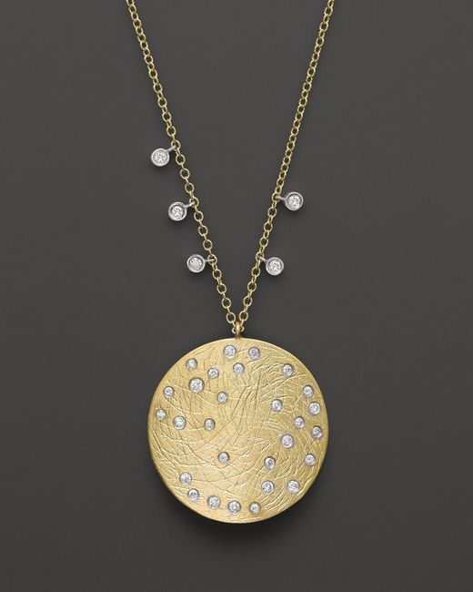Meira T | Multicolor 14k Yellow & White Gold Large Disc Necklace, 16"