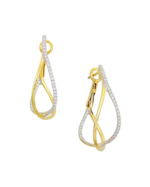 Frederic Sage | Metallic 18k Yellow Gold Crossover Diamond Hoop Earrings | Lyst