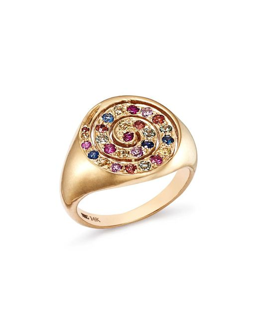 Shebee - Metallic 14k Yellow Gold Ombré Sapphire Spiral Cocktail Ring - Lyst