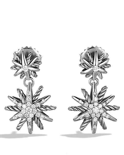 David Yurman - Metallic Starburst Double-drop Earrings With Diamonds - Lyst